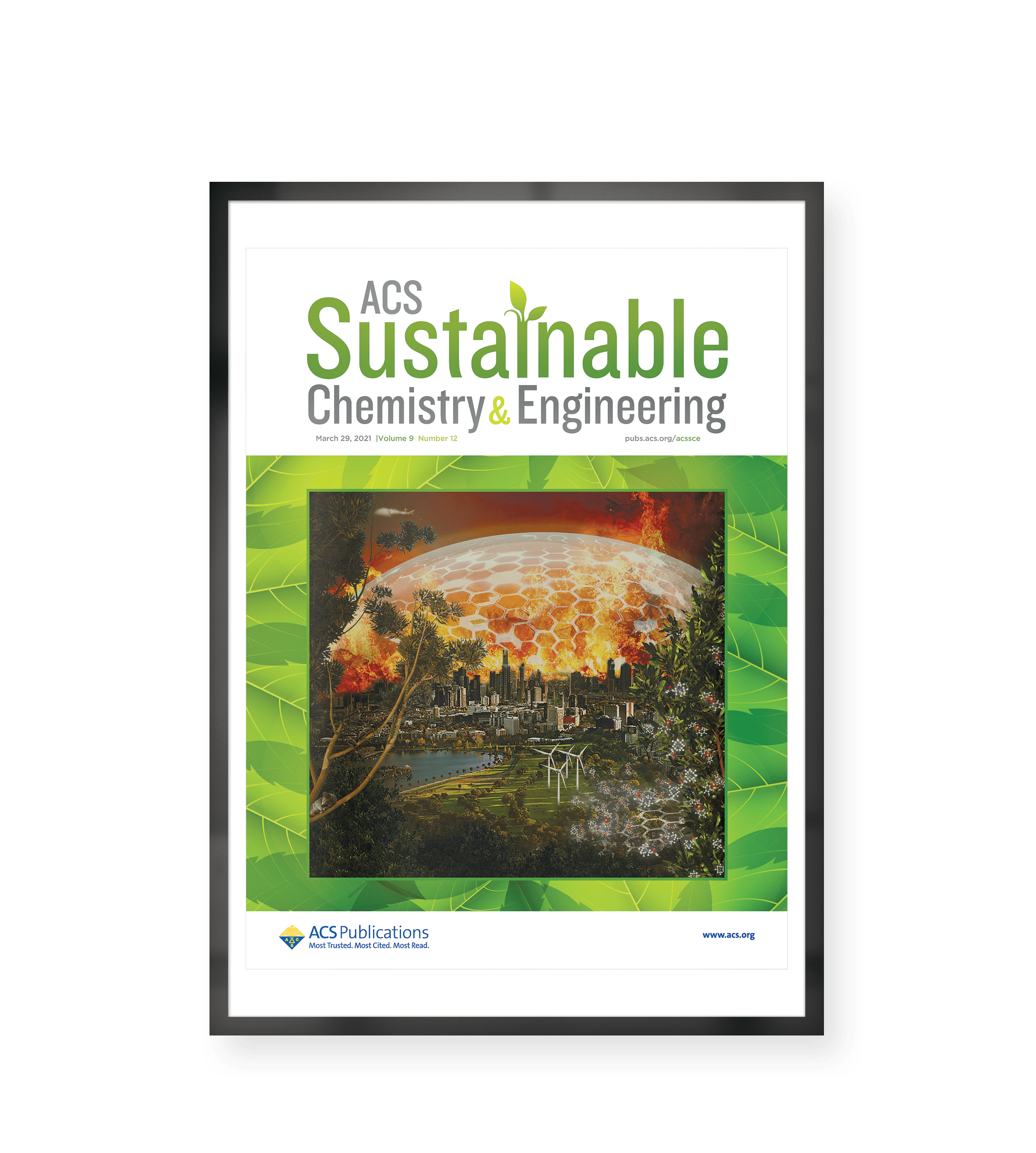 Front Cover Image of ACS Journal of Sustainable Chemistry and Engineering representing the research of Dr. Omid Zabihi: