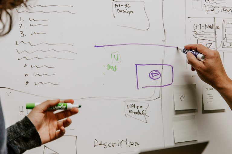 Two designers brainstorming website design ideas on a whiteboard.