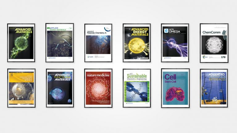 A mockup gallery of Patton'd Studios' journal covers. Each cover is framed and is presented like a hanging piece of art.