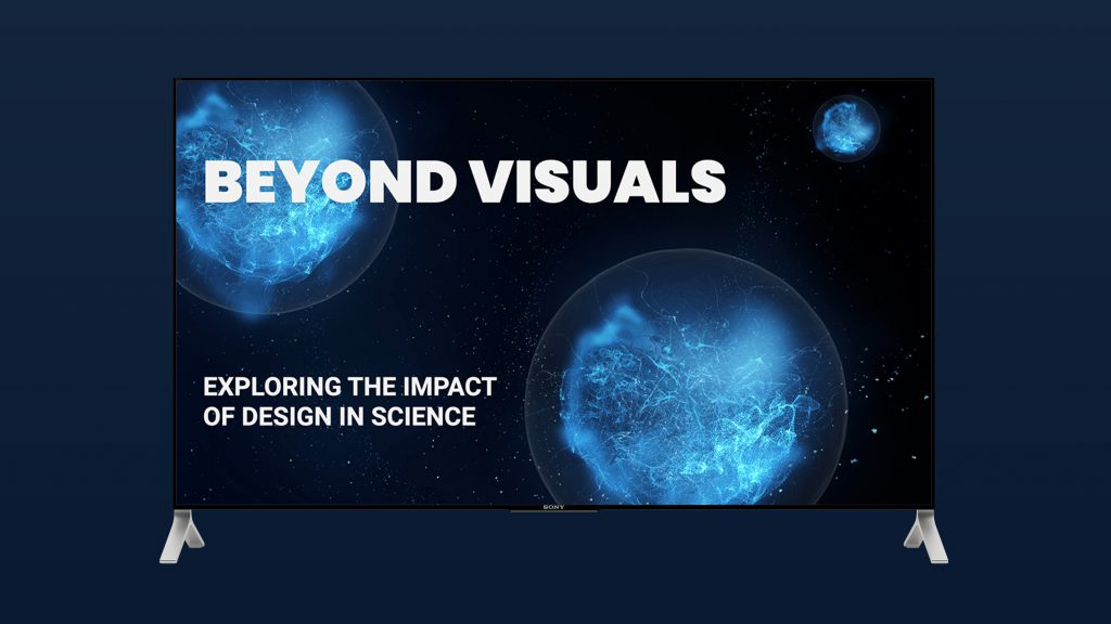 Image still of the title presentation slide for Patton'd Studios' latest free design workshop: Beyond Visuals