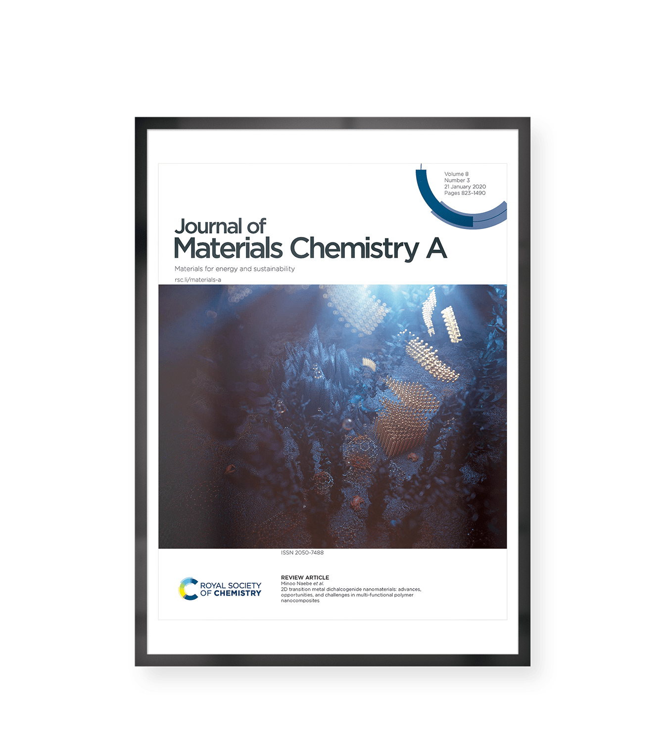 Cover Image for RSC Journal of Materials Chemistry A representing the research of Dr. Mojtaba Ahmadi et al: