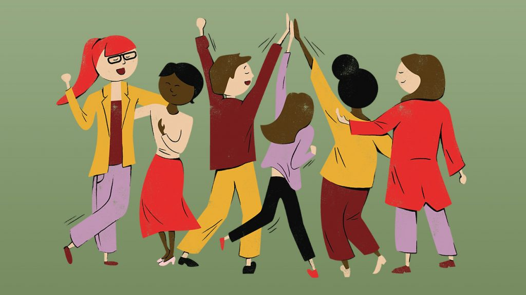 Cartoon illustration of a group of people celebrating. The ilustration is in the style of the new WiSPP branding.