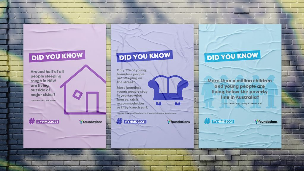 Posters of statistics about youth homelessness and the challenges homeless young people have everyday.